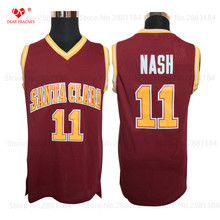 Top Men Cheap College Basketball Jersey #11 Steve Nash Jersey Santa Clara Retro Stitched Throwback Basket-ball Shirt Red for Men