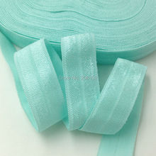 "Good Quality DIY Headband Fold Over Elastic 5/8"" Aqua FOE Ribbon Wholesale for Hair Accessories 101colors Available 10yards/lot"