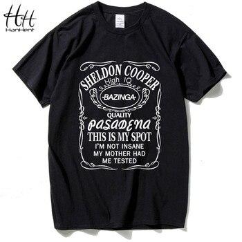 HanHent Nova The Big Bang Theory Bazinga Sheldon Cooper T Shirt Homens T-Shirt Para O Homem do algodão Este é O Meu Lugar Tshirt Homme Top Tees