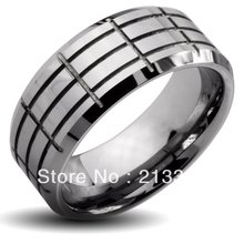 Buy Cheap Discount Price USA HOT Selling 8MM Men&Womens Silver Grooves Beveled Classic Tungsten Wedding Rings - Top Fine Jewelry World ( and retail jewelry store store)