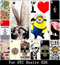 Painted Hard Cover Case Soft TPU Case For HTC Desire 626 650 628 626w 626D 626G 626S Housing Bag Shell Hood Cool Head skull Wolf