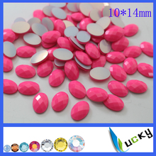 1440PCS 10*14mm oval shape neon pink color KOREAN QUALITY hotfix epoxy flatback pearl rhinestone perfect look(China)