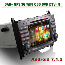 "7"" Android 7.1.2 Autoradio DAB+ DVD CD Car GPS Navigation for Mercedes Benz C-Class W203 CLC W203 CLK Class W209 Radio 3G OBD(China)"