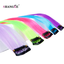 SHANGKE Long Colored 1 Clip In Hair Extensions Fake Hairpieces Heat Resistant Synthetic Fake Hair Extensions 1 Clip In Hairpiece(China)