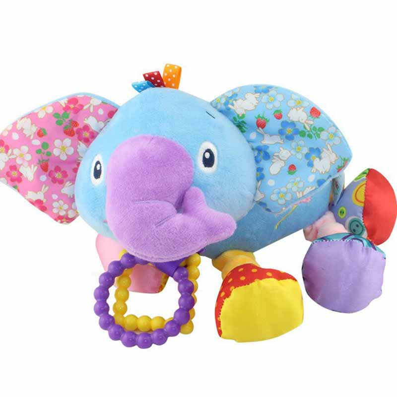 35*22CM Musical Cute Rattles Bed Crib Stroller Kids Stuffed Doll Vibrator Dog Hand Bell Shake RingToy With Teether D012 22