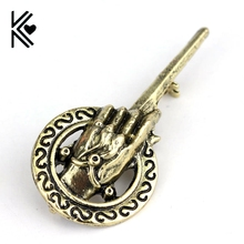 Game Of Thrones Vintage Antique Bronze King's Hand Mace Tyrell Brooch Pins Cheap Wholesale Movie Jewelry Women And Men Brooches(China)