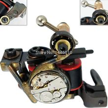 2016 Crazy Tattoo Supply Pro Steam Punk Handmade Tattoo Machine Liner Shader 10 Wrap Coils Steel Supply Grip Gun Free Shipping(China)