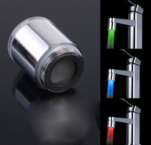 100Pcs/lot LED Water Stream Tap Shower Head Faucet Light Temperature Sensor Kitchenware 3 color Free shipping