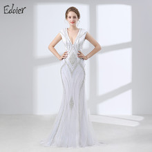 White Evening Dress Long 2017 Mermaid Luxury V Neck Heavy Beaded Crystal Cap Sleeves Women Formal Evening Gown Prom Dresses(China)