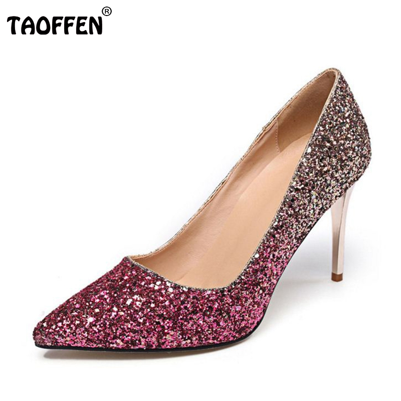 TAOFFEN women real genuine leather high heel shoes wedding brand pumps pointed toe heel footwears heels shoes size 34-39 R08552<br>
