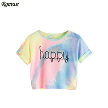 ROMWE Happy Rainbow Pastel Tie Dye T-Shirt,Women Letter Print Tee,Beach-to-Bar,Night Club Party Short Crop T-shirts,2017 Summer