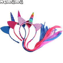 Children's Christmas Hairband Sequin Kit Ears Leather Unicorn Headband with Fur Tails Hair Hoop Kids' Festival Hair Accessories(China)