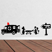 New Creative Design Black Mouse Patient Home Tattoos Wall Sticker / Little Rats Mouse Ambulance Kids Funny Gifts(China)