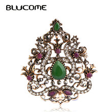 Blucome Vintage Women Decoration Brooches Party Dress Hair Accessories Green Water Drop Resin Crown Corsage Pin Headwear Jewelry(China)