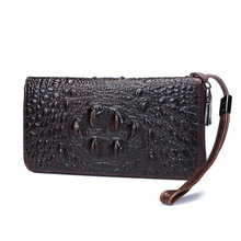 New Men Wallets Genuine Leather crocodile Pattern Zipper Long Design men's Wallet  Wallet Male Clutch Bag Purse Hand Bag Man