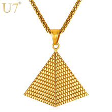 U7 Egyptian Pyramid Pendant Charm Necklace Gold Color 316L Stainless Steel Chain Women/Men Egypt Jewelry Hot New Arrival P1005(China)