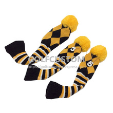 2016 NEW Design of 3pcs/set yellow Knit Wool Pompom Golf Club Headcovers Head Covers for Driver Fairway Golf accessory(China)