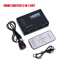 HD 1080p Intelligent 5x1 5 PORT HDMI Switch/Switcher Splitter HUB + IR Remote and AC Adapter For HD TV PS3 Supports 3D(China)