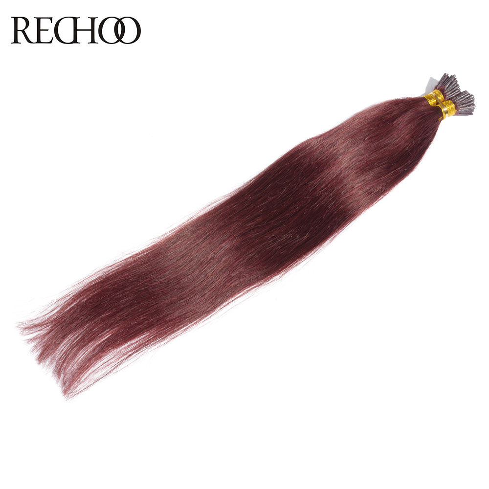 Rechoo Top quality I-tip Non-remy hair extensions straight #99J Brazilian human hair pre-bonded hair extensions 1g/pcs I-tip <br><br>Aliexpress