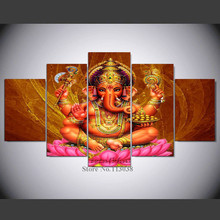 5 Panels Lord Ganesha Printed Canvas Painting Elephant Head Living Room Wall Art Pictures High Quality Poster(China)