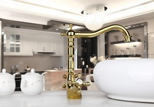 NEWLY Discount Construction & Real Estate Swivel Spout Golden Polished Two Handles Bathroom MixerTap Basin Sink Faucet