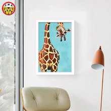 China's panda Crooked neck giraffe Kung fu panda Large cat rabbit Christmas Cat Diy digital coloring painting Animals Hand Paint(China)