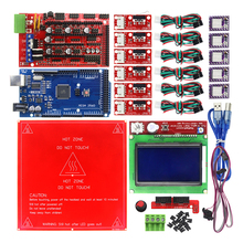 Reprap Ramps 1.4 Kit with Mega 2560 r3 + Heatbed MK2B + 12864 LCD Controller + DRV8825 +Mechanical Switch +Cables for 3D Printer(China)