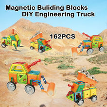 162PCS Magnetic Assemble Building Blocks Toys Educational Building Tiles Blocks Stack Toys Bricks Construction Engineering Truck