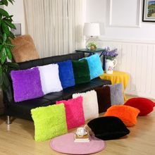 "1PC Colorful 18"" Warm Soft Fur Plush Square Throw Pillow Cases Waist Seat Winter Home(China)"