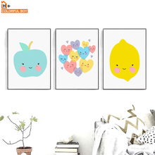 COLORFULBOY Modern Fruit Love Smiling Face Canvas Painting Wall Pictures For Kids Room Wall Art Posters And Prints Home Decor(China)