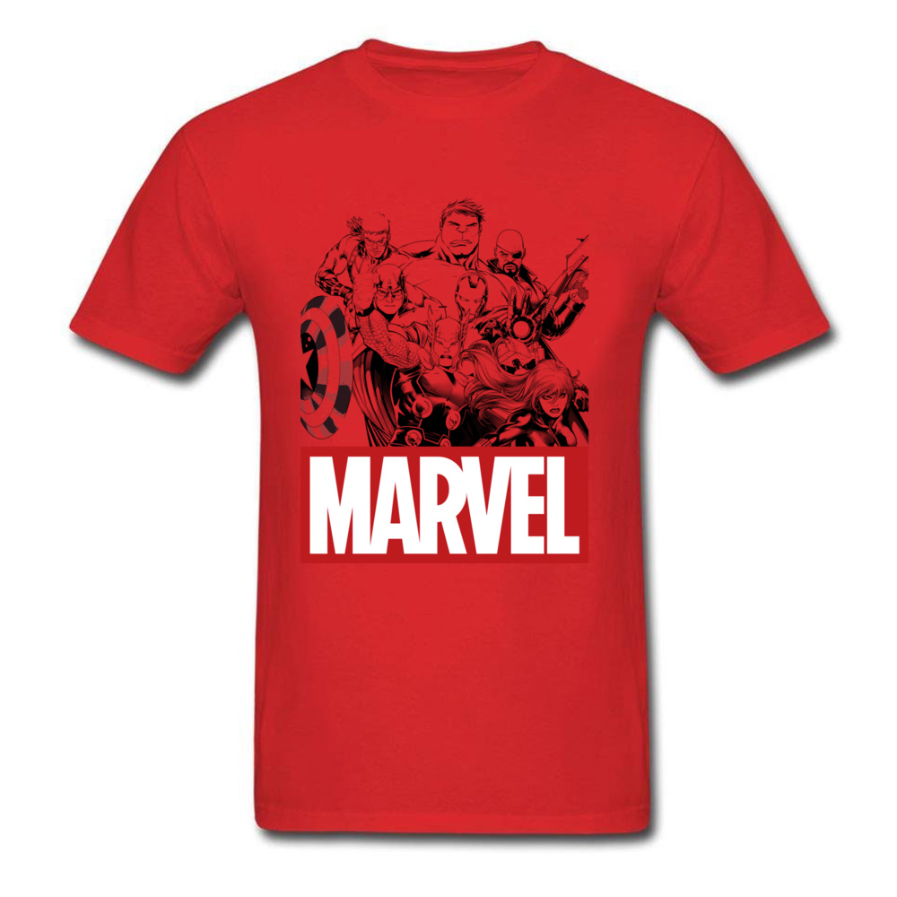 Newest Male Top T-shirts Crew Neck Short Sleeve 100% Cotton Star Wars Marvel Heroes Logo Tops & Tees Print Tops & Tees Marvel Heroes Logo red