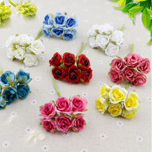 6 pcs Silk Rose flores Artificial Flowers cheap Bouquet home Wedding Decoration DIY Wreath gifts scrapbooking craft Fake flower(China)
