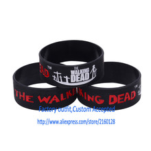 Wholesale 30PCS/lot The Walking Dead/ Silicone bracelet/1 inch Silicone band/ Silicone wristband Custom Accepted(China)