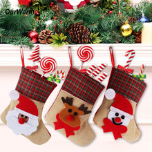 OurWarm 4Pcs/Lot Christmas Stocking Santa Claus Christmas Stocking Sock Xmas Tree Ornaments Burlap Gift Holder New Year Gifts(China)