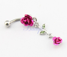 1pc Cute Rose Fuschia Color Metal Flower Double Roses Navel Ring 14G JW727(China)
