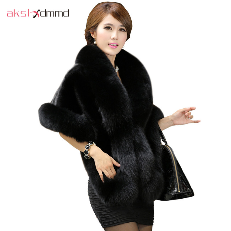 2019 New Faux Fox Fur Coat Cloak Skinny Imitation Mink Fur Shawl Female Clearance Special Offer Faux Fur Opera Cape LH563