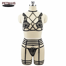 Buy Hot Womens Sexy Harness Lingerie Bra+garter soft lace Black Elastic Bondage Harness Goth Fetish Exotic Burlesque dress Rave Wear