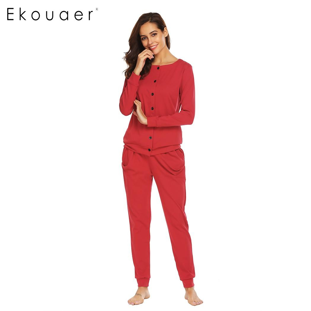 Ekouaer Cotton Women Sleepwear Pajamas Round Neck Long Sleeve Button Down Top & Pants Pajama Set Casual Nighties Female Homewear