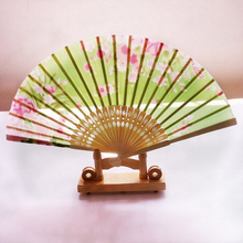 Flower Chinese Bamboo Folding Hand Fan Wedding Party 21cm random pattern and color