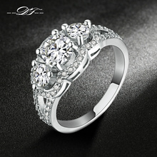 Silver Color Luxry Wedding Ring Set Engagement AAA Cubic Zirconia Jewelry For Women with Austrian Crystal DFR515