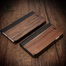 Bamboo Leather Flip Phone Case For iPhone 7 6 6s Natural Wood Protector Cover For iPhone 7 6 6s Plus Card Slot Wallet Case Coque