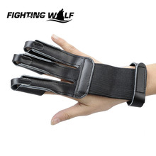 3 Finger Tip Protector Archery Protect Glove Hunting Shooting Glove Bow Arrow Leather Finger Guard Pull Archery(China)