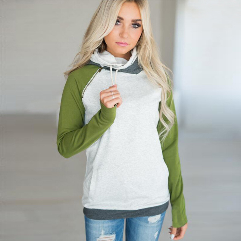 New Double Hood Sweatshirt, Women's Long Sleeve, Side Zipper Hooded Casual Pullover 25