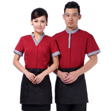 waiters catering clothing restaurant roast coffee shop summer tshirts+apron set hotel staff uniforms chef apparel free shipping