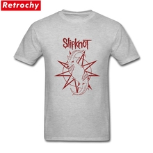 Trendy Male Slipknot Logo Tee Short Sleeve Soft Cotton Band goat Hot Topic Concert Tour apparel Men Summer T-shirt(China)