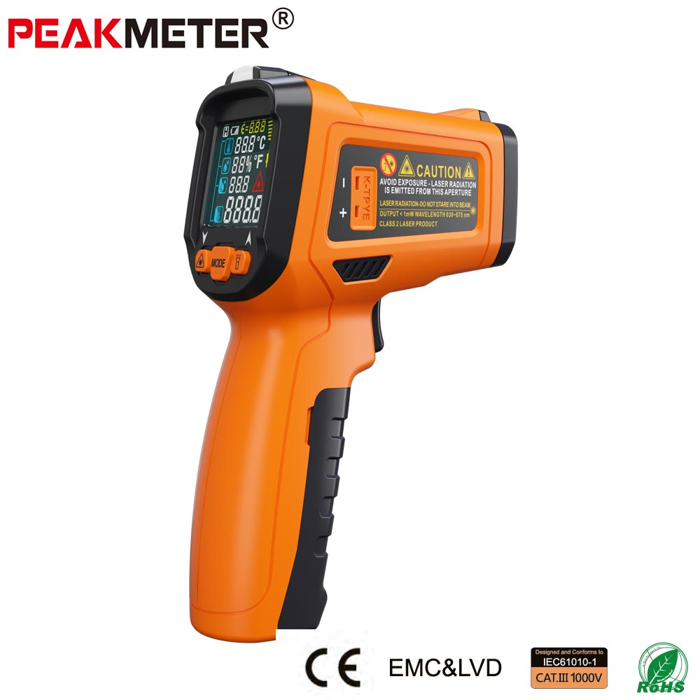 PEAKMETER PM6530D LCD Display Handheld Infrared Thermometer -50~800 with Humidity and Dew Point IRT K type Ambient UV Light <br>