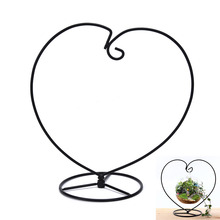 HONGGAO 1Pc Black Color Handmade Ball Vase Heart Shape Iron Stand Simple Stylish Hanging Glass Plant Vase Home Decor On Sell(China)