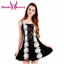 Wonder beauty new design women dress black white sleeveless high quality lace ball gown fashion cute brand dress sexy club wear(China)