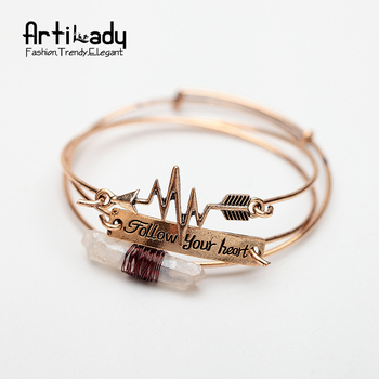 Artilady 3pcs set raw crystal cuff bangle antic gold  with follow your heart letters arrow bangle for women jewelry