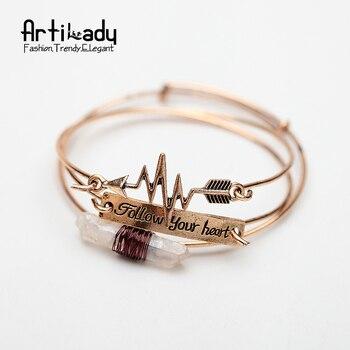 Artilady 3 pcs set raw cristal manchette bracelet or antique avec suivre votre coeur lettres flèche bracelet pour femmes bijoux